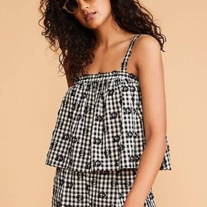 Lou & Grey Floral Cropped Gingham Top & Bottom